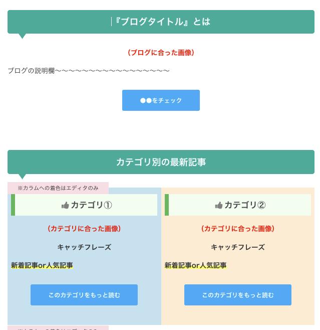 cocoon 固定ページ テンプレコピペ
